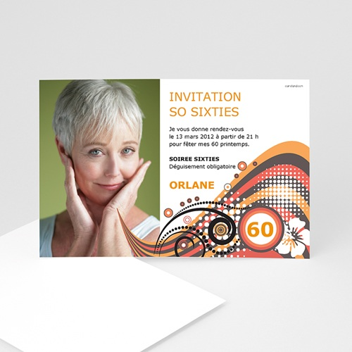 Carte invitation anniversaire adulte So Sixties pas cher