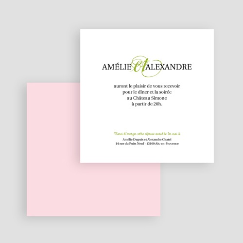 Carton Invitation Personnalisé Mariage Printanier gratuit