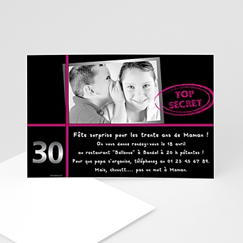 Invitation Anniversaire Adulte - Anniversaire Top secret - 3