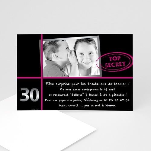souvent Invitation anniversaire adulte rose | Carteland.com XK98
