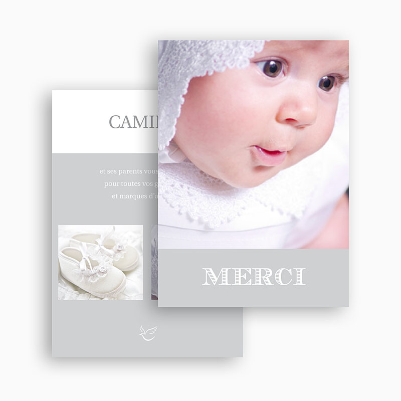 Remerciements Baptême Garçon - Typographie 20835 thumb