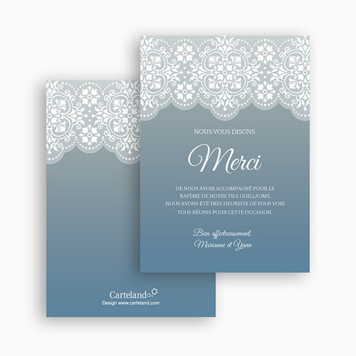 Carte remerciement baptême garçon Azulejos gris gratuit