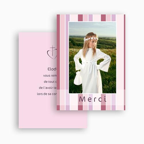 Remerciements Communion Fille - Mille mercis rayés de rose 20939 thumb