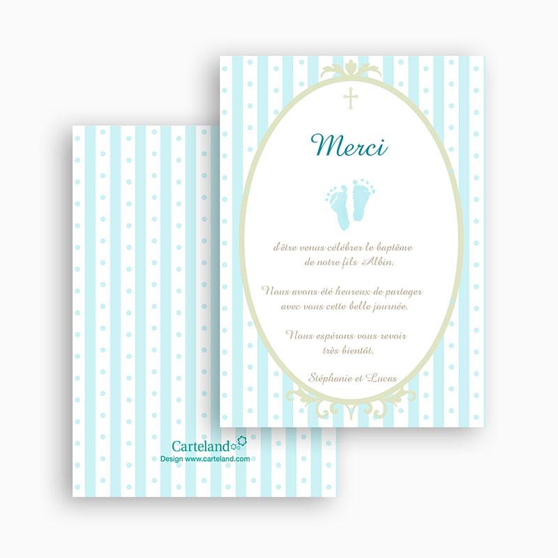 Carte remerciement baptême garçon Médaillon motif rayé bleu gratuit