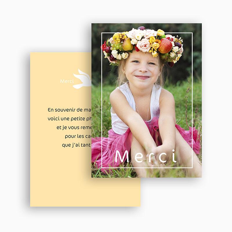 Carte remerciement communion fille Première communion gratuit