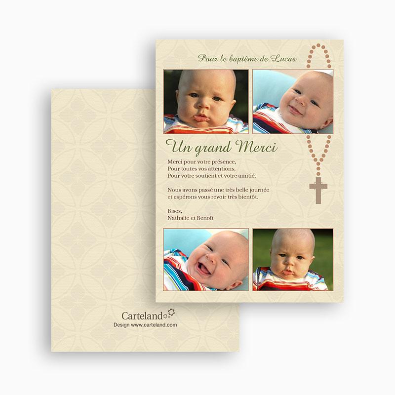 Carte remerciement baptême garçon Belle Consécration gratuit