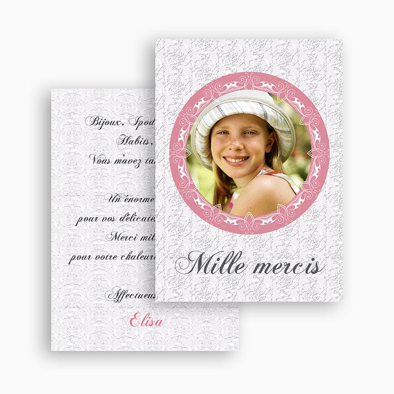 Carte Remerciement Communion Fille Merci d'Elisa gratuit
