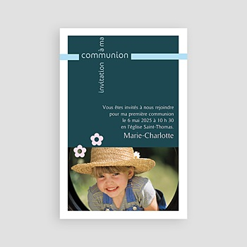 Faire-part communion fille - Communion multi-photos - 3