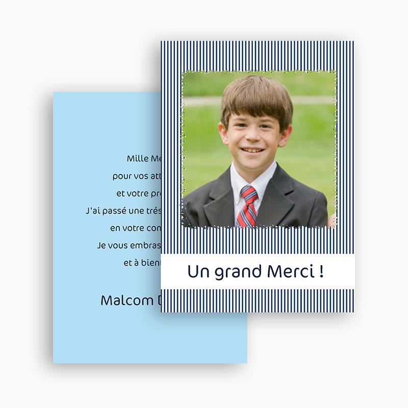 Carte remerciement communion garçon Rayé de bleu gratuit