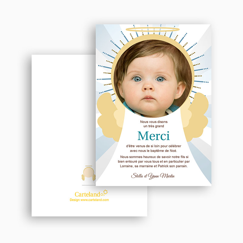 Carte remerciement baptême garçon Auréolé gratuit