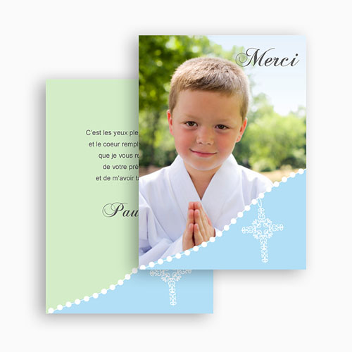 Carte Remerciement Communion Garçon Merci de Paulin gratuit