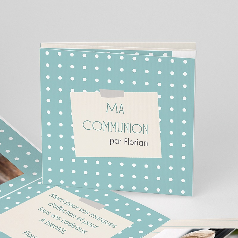Carte Remerciement Communion Fille Mon petit  journal