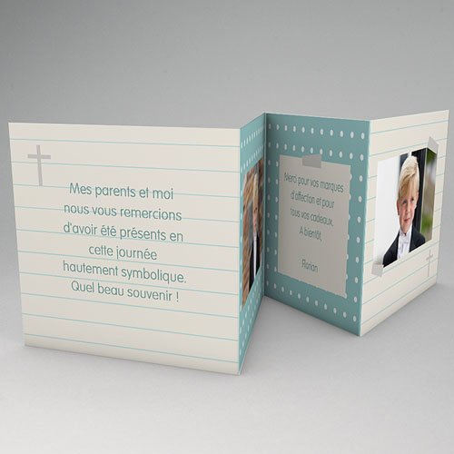 Carte Remerciement Communion Fille Mon petit  journal gratuit