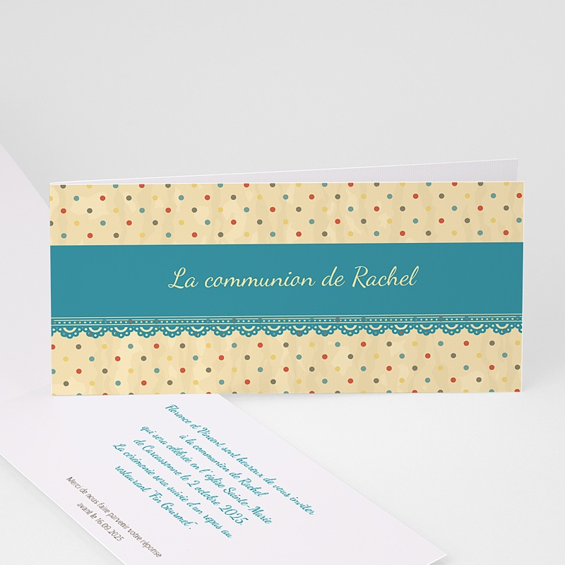 Faire-part communion fille Dentelle