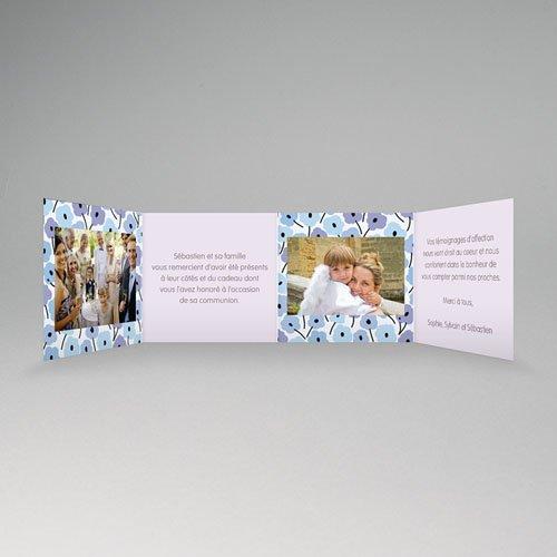 Remerciements Communion Fille - Fleurs bleues 21501 thumb