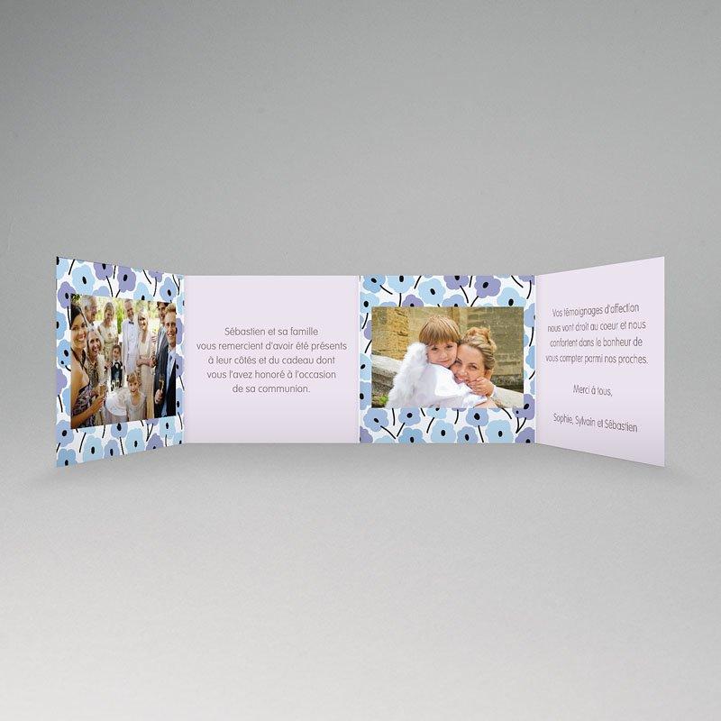 Carte Remerciement Communion Fille Fleurs bleues pas cher