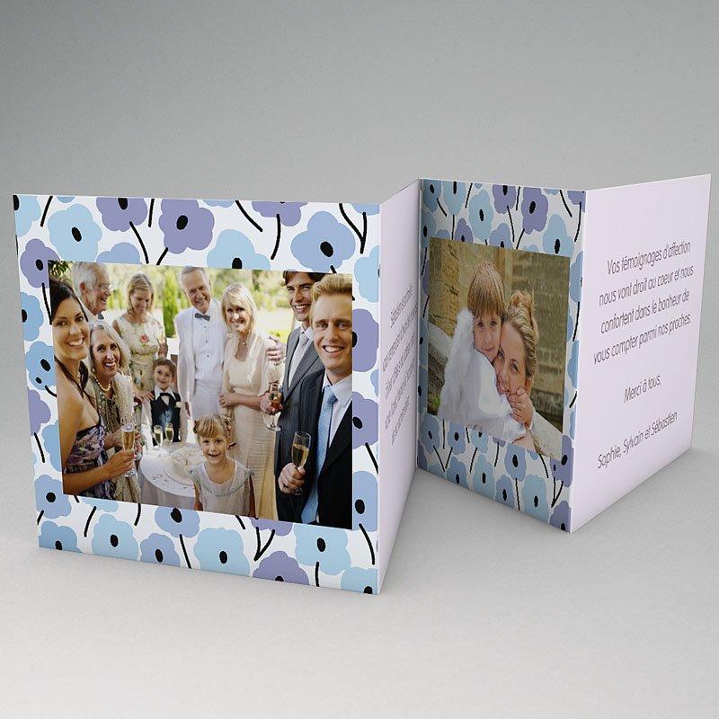 Carte Remerciement Communion Fille Fleurs bleues gratuit