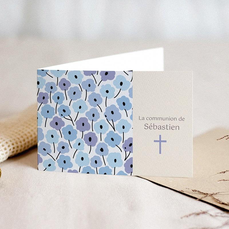 Faire-part communion garçon Fleurs bleues