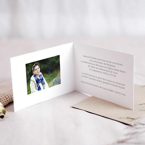 Faire-part Communion Garçon - Fleurs bleues 21510 preview