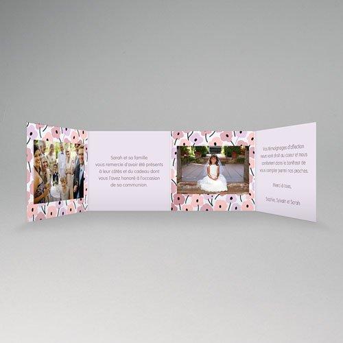 Remerciements Communion Fille - Fleurs roses 21519 thumb
