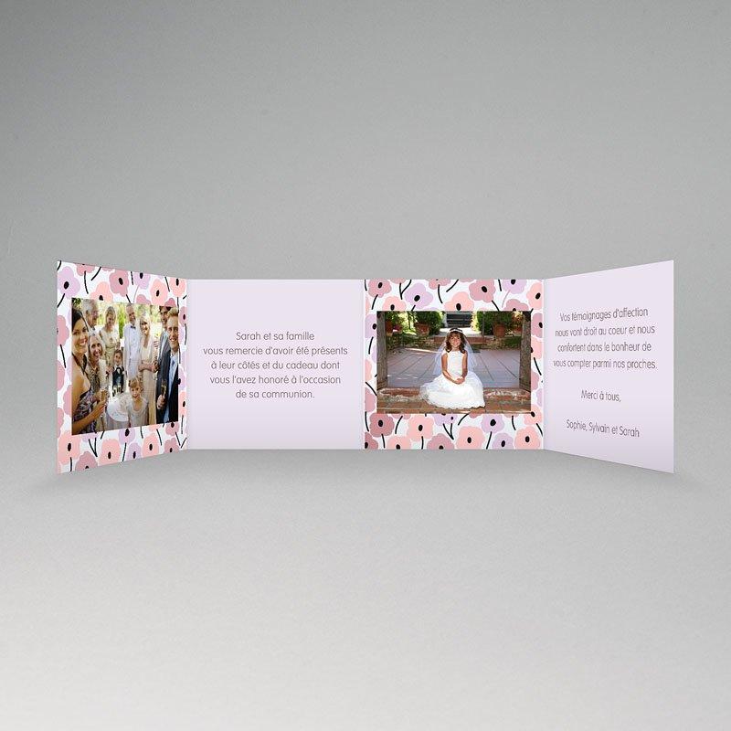 Carte remerciement communion fille Fleurs roses pas cher