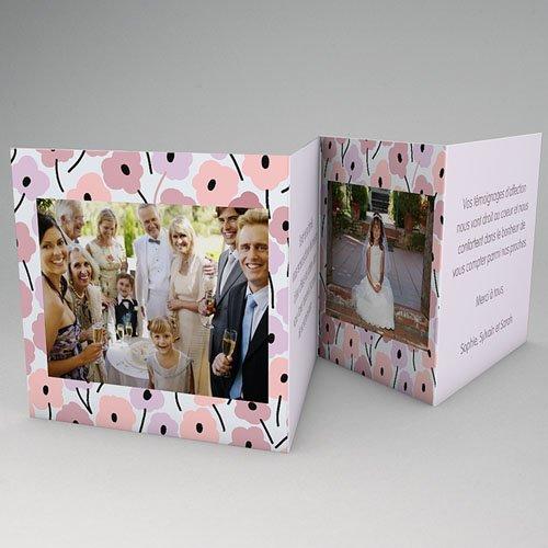 Remerciements Communion Fille - Fleurs roses 21520 thumb