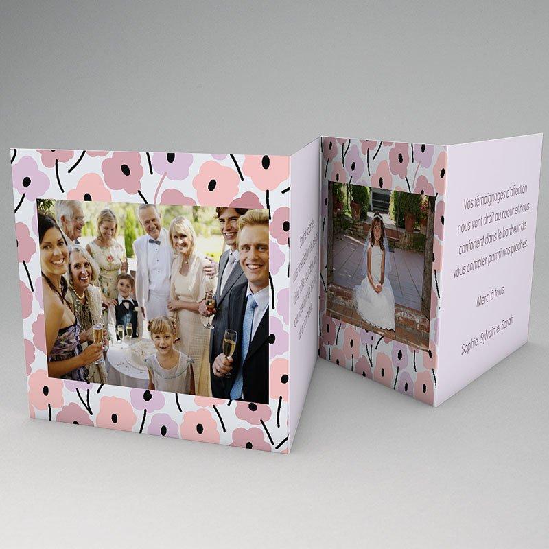 Carte remerciement communion fille Fleurs roses gratuit