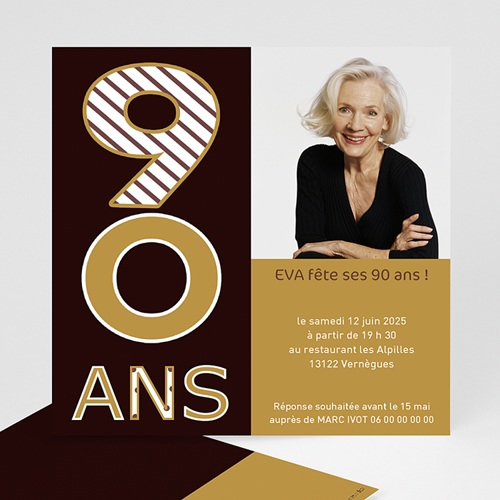 Carte invitation anniversaire adulte 90 ans en Or