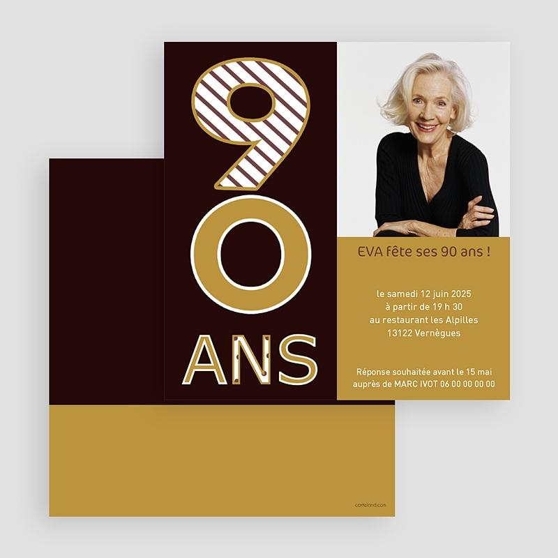 Carte Invitation Anniversaire Adulte 90 ans en Or gratuit