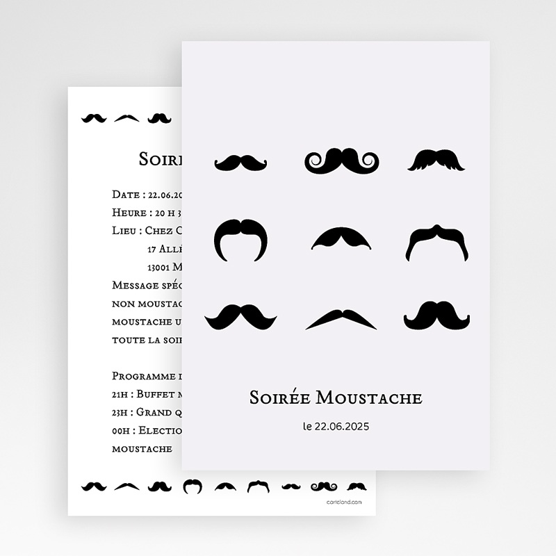 Carte Invitation Anniversaire Adulte Soirée moustache gratuit
