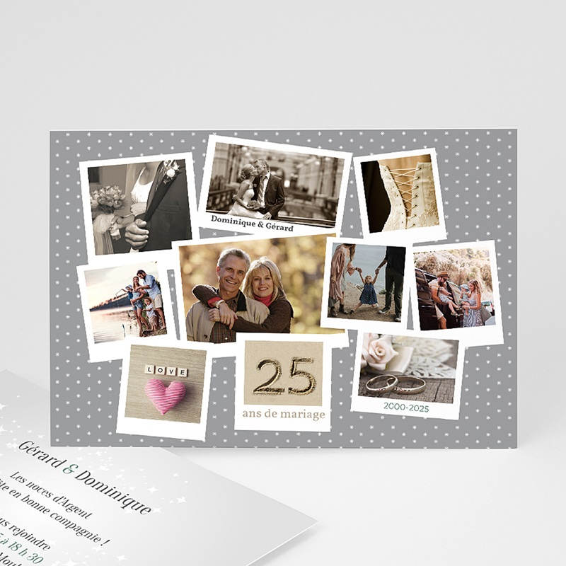 Carte invitation anniversaire mariage pêle-mêle retrospectif