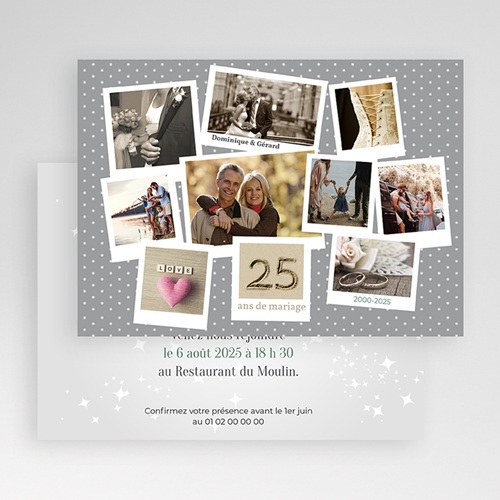 Invitations Anniversaire Mariage - pêle-mêle retrospectif 21784 thumb