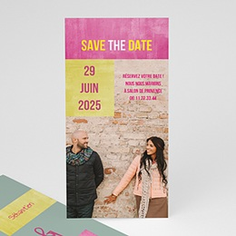 Save the date mariage Mariés Fluo