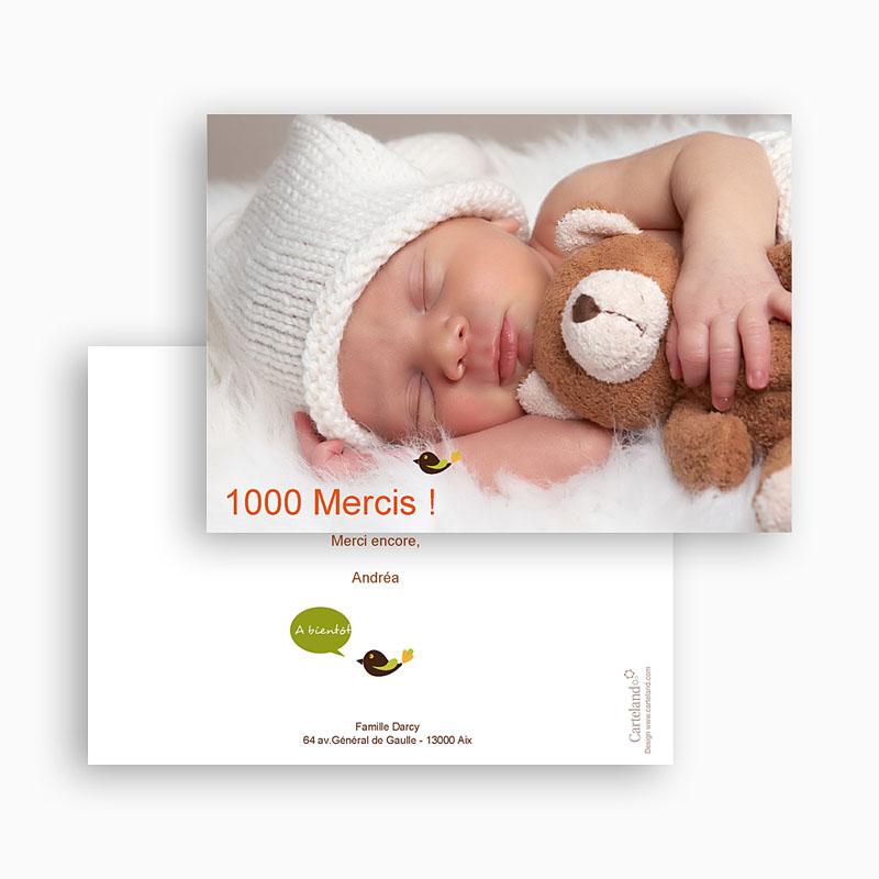 Carte remerciement naissance fille Esprit Bohème gratuit