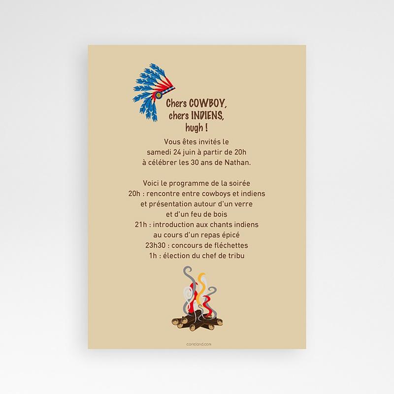 Carte Invitation Anniversaire Adulte CowBoy et Indiens pas cher