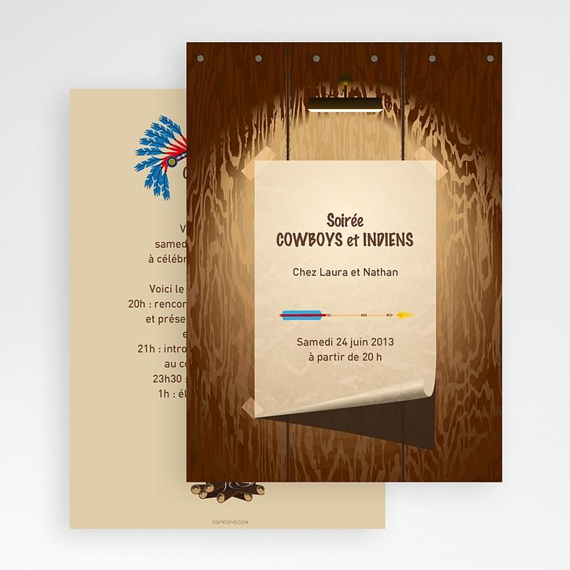 Carte Invitation Anniversaire Adulte CowBoy et Indiens gratuit