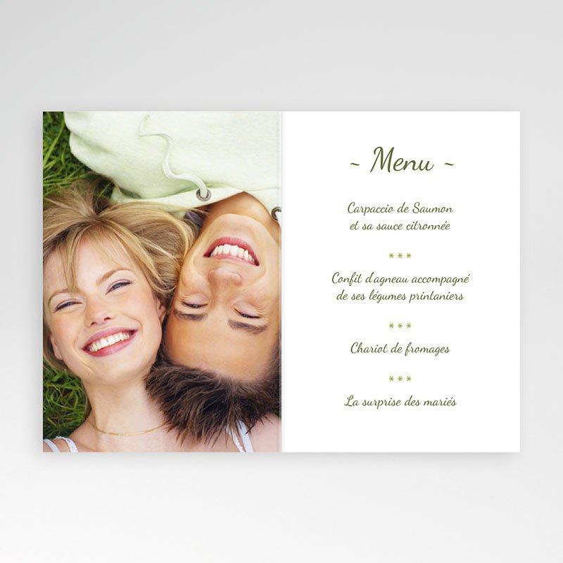 Menu Mariage Personnalisé  Vert Anisé pas cher
