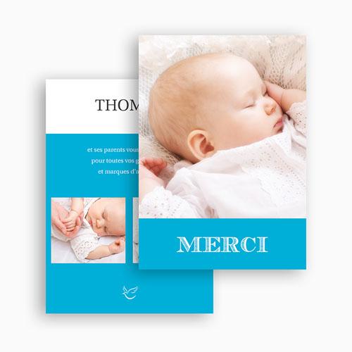 Carte Remerciement Baptême Garçon Typo Bleue gratuit