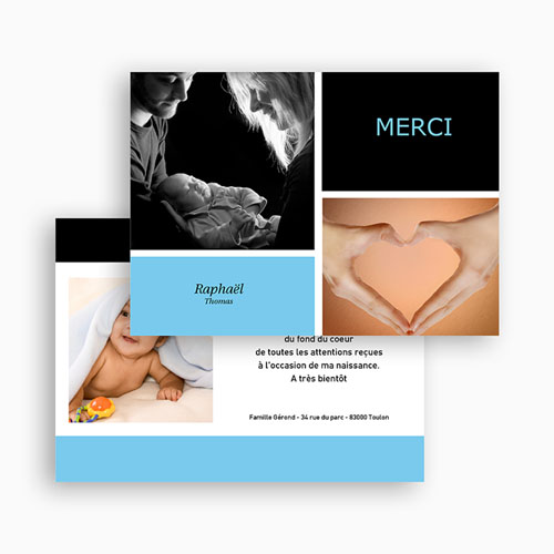 Remerciements Naissance Garçon - Mille Instants de bonheur - Bleu 21940 thumb