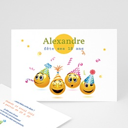 Carte invitation anniversaire adulte Smiley