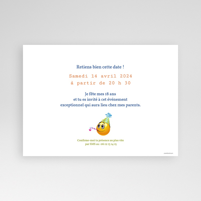 Invitation Anniversaire Adulte - Smiley 22020 thumb