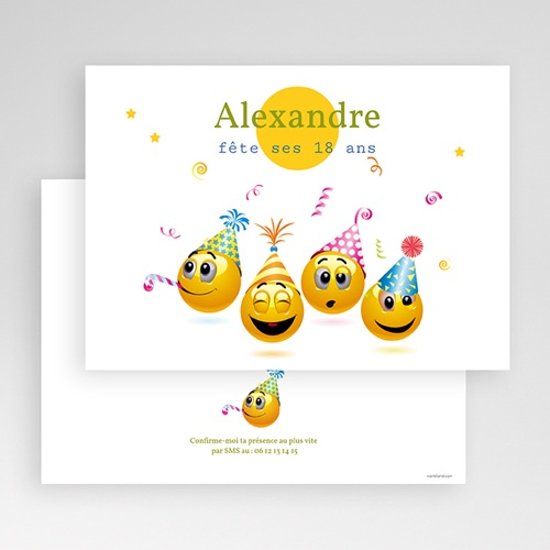 Invitation Anniversaire Adulte - Smiley 22021 thumb