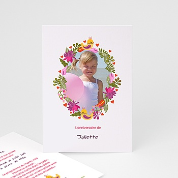 Invitation Anniversaire Fille - Portrait fleuri - 4