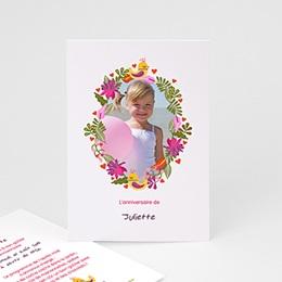 Invitations Anniversaire Fille - Portrait fleuri - 4