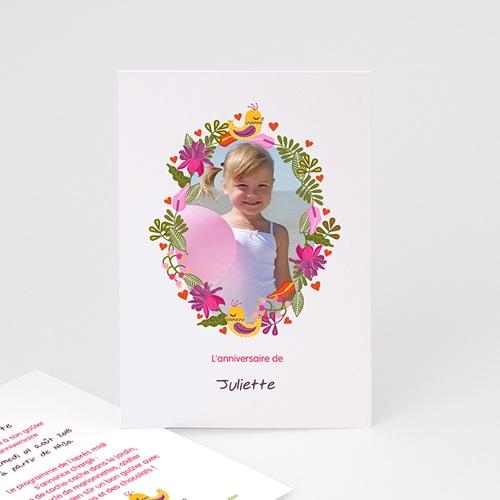 Carte invitation anniversaire fille Portrait fleuri