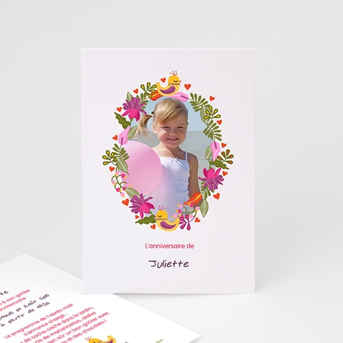 Invitation Anniversaire Fille - Portrait fleuri 22028 thumb