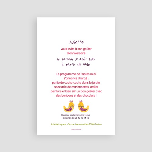 Carte invitation anniversaire fille Portrait fleuri pas cher