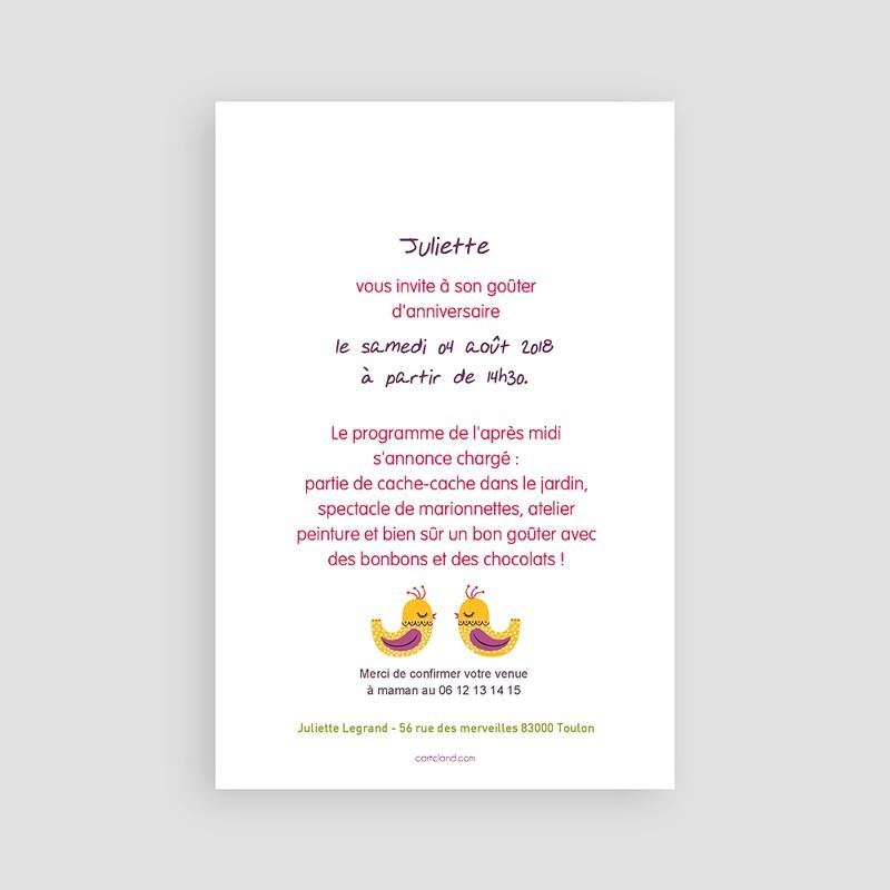 Invitation Anniversaire Fille - Portrait fleuri 22029 thumb