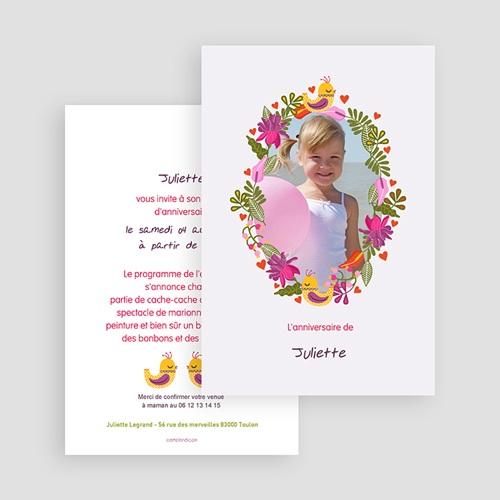 Carte invitation anniversaire fille Portrait fleuri gratuit