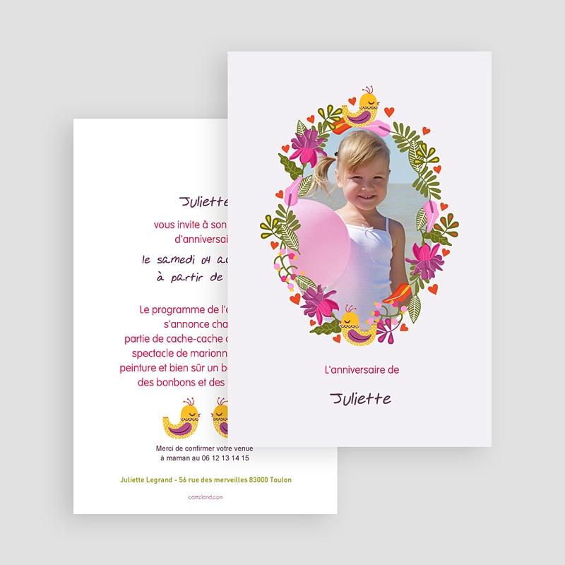 Invitation Anniversaire Fille - Portrait fleuri 22030 thumb